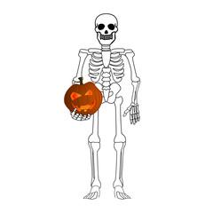 skeleton holding pumpkin head