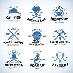 Set of Vector Vintage Nautical and Marine Labels, Signs or Logo