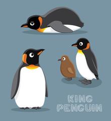 King Penguin Cartoon Vector Illustration