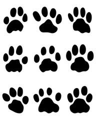 Black print of jaguar's paw, vector