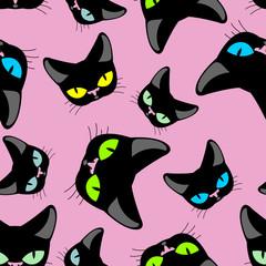 Black cat  pink background seamless pattekrn. Vector background