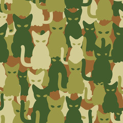 Military texture of cats. Army seamless pattern from pets. Prote