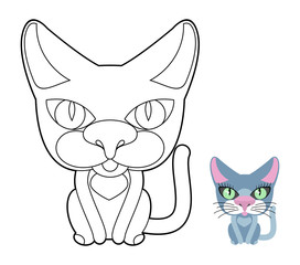 Cat coloring book. Vector linear illustration pet.
