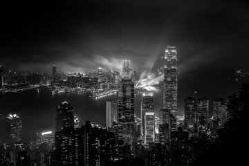 Wall Mural - Hong Kong Cityscape Black & White