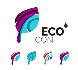 Set of abstract eco leaf icons, business logotype nature