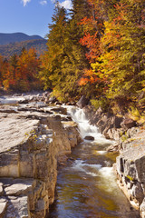 River through fall foliage, Rocky Gorge, Swift River, NH, USA