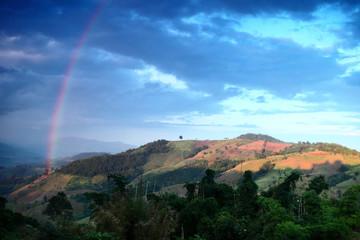 Beautiful rainbow across Mountain thailand.