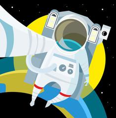 astronauta en el espacio en la órbita del planeta