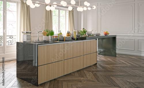 moderne k che in altbau showroom modern kitchen in. Black Bedroom Furniture Sets. Home Design Ideas