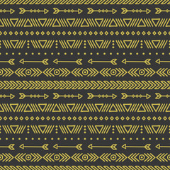 Hand drawn gold geometric ethnic seamless pattern. Wrapping