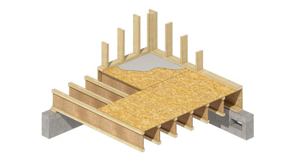 Three-dimensional image of a wooden frame house basement walls. Cartoon conceptual image