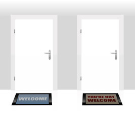 Two doormats lying in front of two doors - one says WELCOME, the other says YOU´RE NOT WELCOME - as a symbol for hospitality and rejection. Vector illustration.