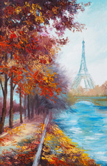 Oil painting of Eiffel Tower, France, autumn landscape