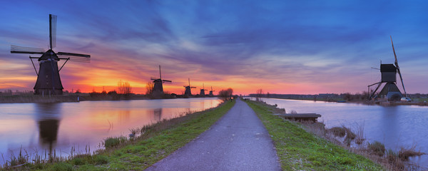 Fototapeta Traditional windmills at sunrise, Kinderdijk, The Netherlands