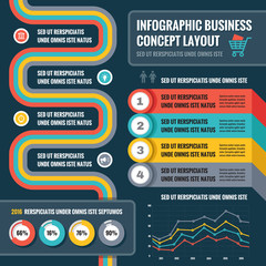 Business infographic concept layout in flat design style for presentation, booklet, website and other design projects. Vector infographic template.