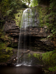 Henrhyd Falls, the highest waterfall in South Wales featured as the Batcave in the film 'The Dark Knight Rises'