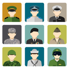 Military social network avatar icons set