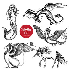 Mythical Creatures Hand Drawn Sketch Set