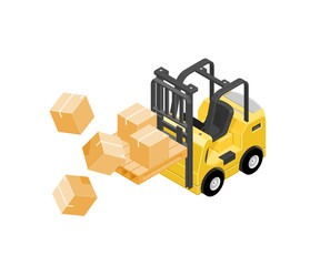 Isometric Industrial accident concept icon illustration - A vector illustration of a forklift truck carrying boxes that have fallen. Forklift truck dropping cardboard boxes.