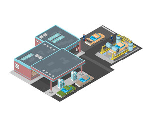 Gas Station with car wash icon illustration - A vector illustration of a large Petrol Station car wash and shop. Isometric filling station with car was and shop.