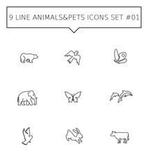 Animals and pets icon set 1