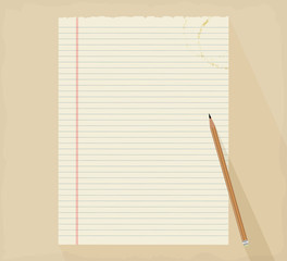 Paper notes with pencil scene vector background