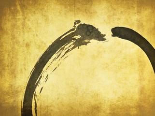 Zen circle detail on ancient paper