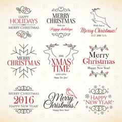 Christmas and New Year symbols for designs postcard and invitation