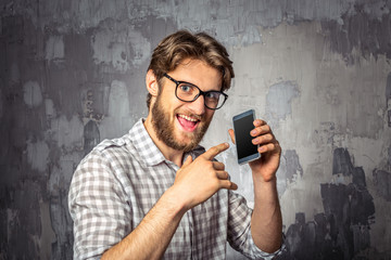 Funny man with a smartphone