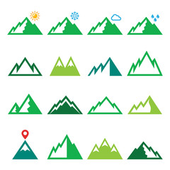 Mountains, nature vector green icons set