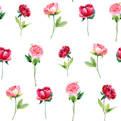Seamless pattern with red, pink peonies, leaves.