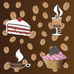 Coffee background with a piece of cake and pies