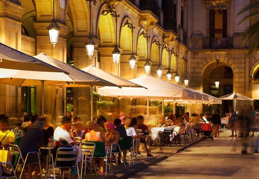 restaurants at Placa Reial in  night. Barcelona