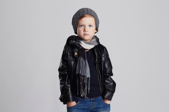 fashionable child. handsome little boy in winter clothes