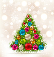 Christmas tree and colorful balls on light background