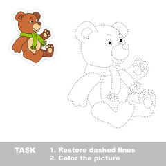 Trace game for children. One cartoon bear toy to be traced.