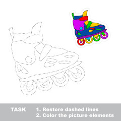 Restore dashed line. One cartoon roller skate.
