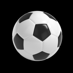 Football - Soccer ball HQ 3D render isolated with clipping path on black.