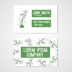 Design for business card with chamomiles.
