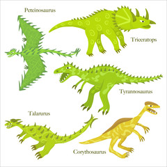 Cartoon dinosaurus collection. Child style dinosaurus drawing. Spinosaurus, parasaurolophus,pterodactyls; diplodocus, stegosaurus. Set 02.