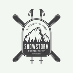 Vintage mountaineering and arctic expeditions logos, badges, emblem