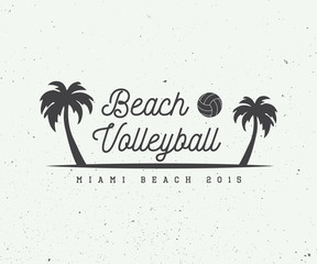 Vintage beach volleyball label, emblem or logo.
