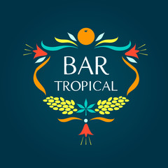 Template vector logo. Tropical bar. Oval frame of fruits and flo