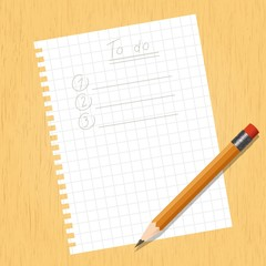 Sheet square and a pencil