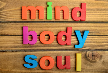 Colorful Mind Body Soul word