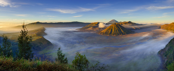 Poster Indonesia Bromo volcano at sunrise, East Java, Indonesia