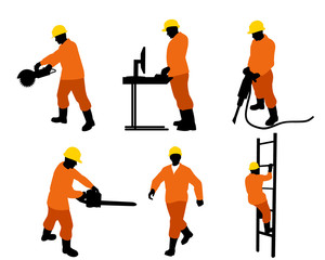 Six builders silhouettes