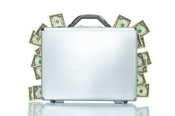 A briefcase with money coming out of the sides