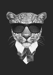 Portrait of Leopard in suit. Hand drawn illustration.