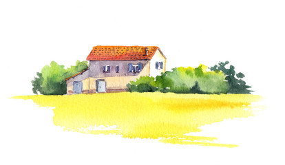 Rural landscape with old house and yellow field, watercolor